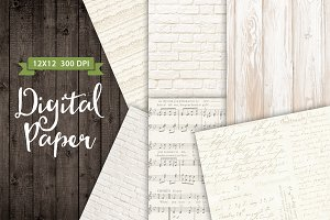 White Wood Brick Texture Paper Set