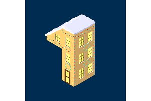 Isometric vector number one 1 yellow on blue winter chrismas house in shape of number one 1 house isometric lettering