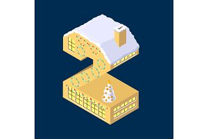 Isometric vector number two 2 yellow on blue winter chrismas house in shape of number two 2 house isometric lettering