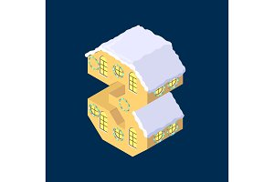 Isometric vector number Three 3 yellow on blue winter chrismas house in shape of number Three 3 house isometric lettering