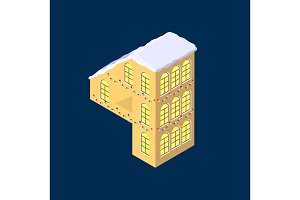Isometric vector number four 4 yellow on blue winter chrismas house in shape of number four 4 house isometric lettering