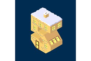 Isometric vector number five 5 yellow on blue winter chrismas house in shape of number five 5 house isometric lettering