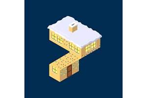 Isometric vector number seven 7 yellow on blue winter chrismas house in shape of number seven 7 house isometric lettering