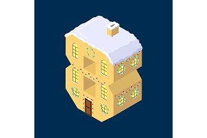 Isometric vector number eight 8yellow on blue winter chrismas house in shape of number eight 8 house isometric lettering
