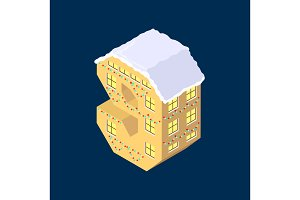Isometric vector number nine 9 yellow on blue winter chrismas house in shape of number nine 9 house isometric lettering