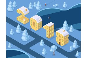 Isometric vector numbers 2018 yellow on blue winter chrismas landscape houses in shape of number eight 8 house isometric lettering