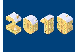 Isometric vector numbers 2018 yellow on blue winter chrismas houses in shape of number eight 8 house isometric lettering
