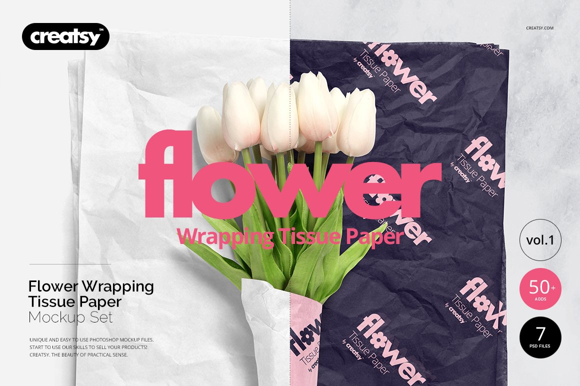 Flower wrapping paper mockup set product mockups creative market mightylinksfo