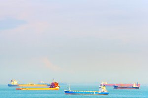 Industrial shipping tankers in Singa