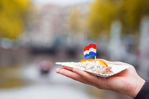 Fresh herring with onion and netherland flag on the water channel background in Amsterdam. Traditional dutch food