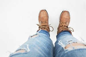 Shoe selfie in snow