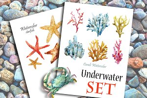 Watercolor underwater set