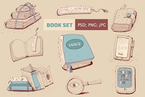 Set of books sketch illustration.