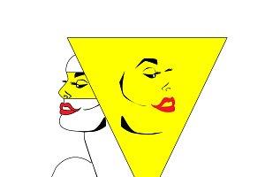 Pop art twins, yellow color vector