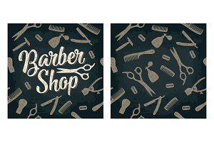 Seamless pattern set tool for BarberShop with lettering