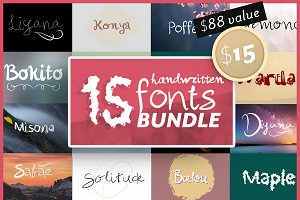 15 Handwritten Fonts Bundle SALE