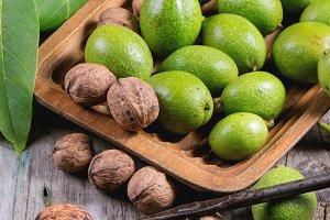 Green and ripe walnuts