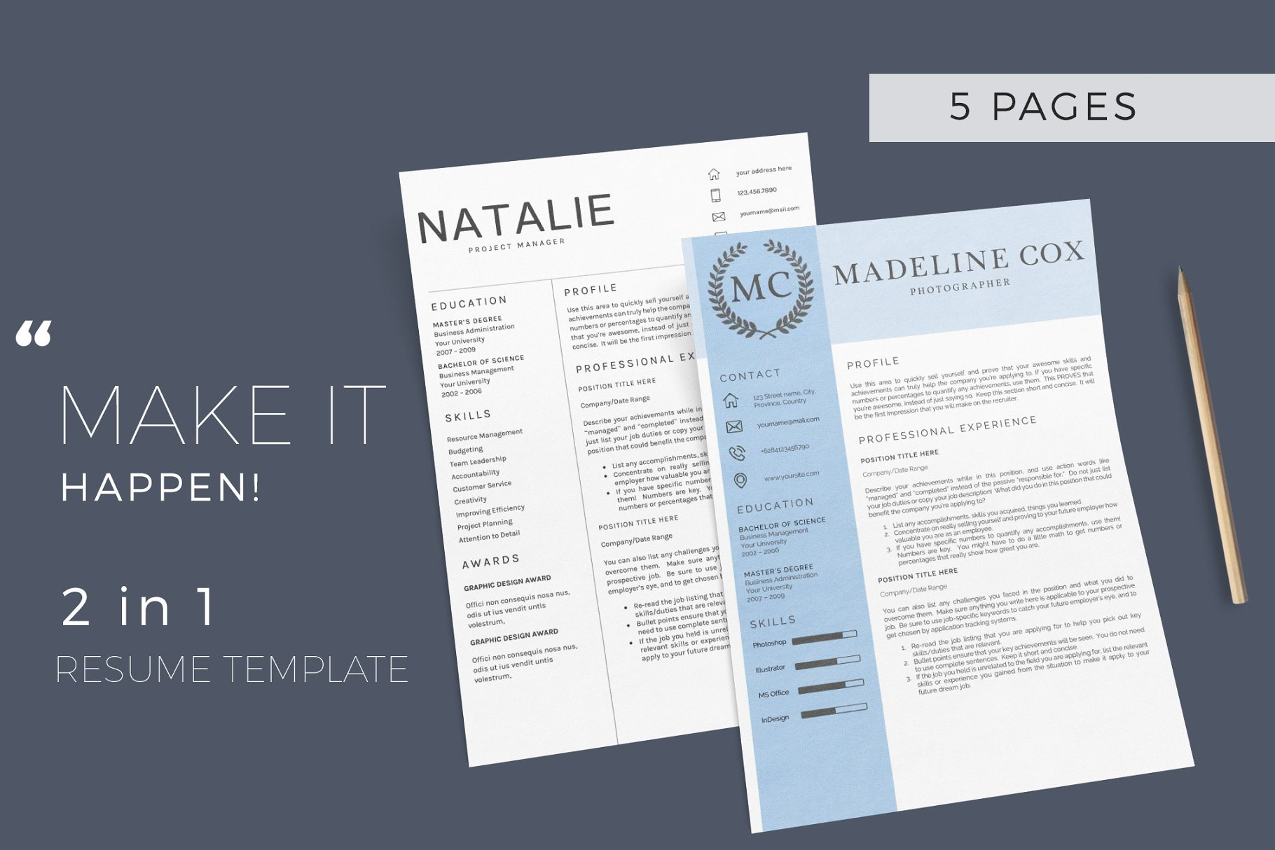 resume template 5 pages cv resume templates creative market pro