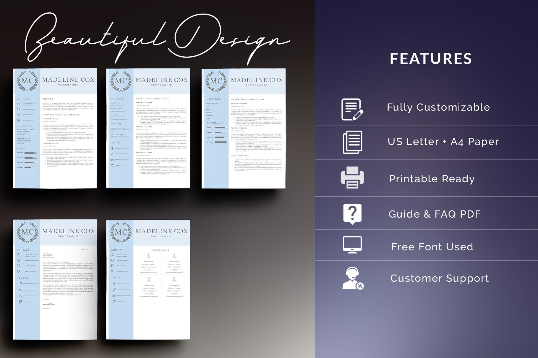 Resume Template 5 Pages/CV - Resume Templates | Creative Market Pro