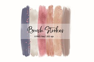 Brush Strokes Clip Art (Rose Gold)