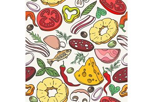 Pizza ingredients pattern
