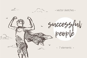 Set of sketches of successful people