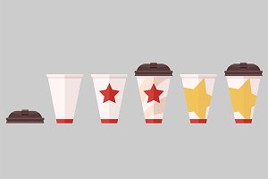 Coffee cup set in flat vector style