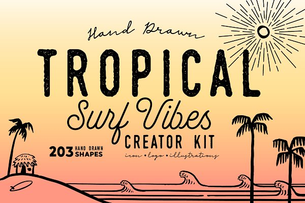 Photoshop Shapes - TROPICAL SURF VIBES Creator Kit