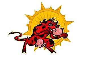 Cartoon cute red cow.