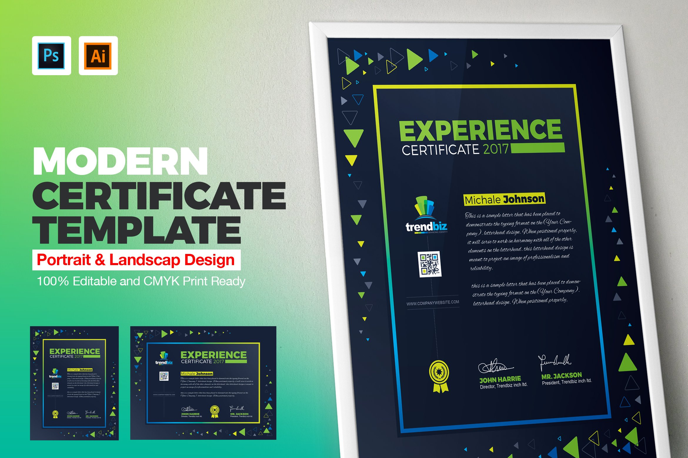 Modern certificates stationery templates creative market certificate template yelopaper Image collections