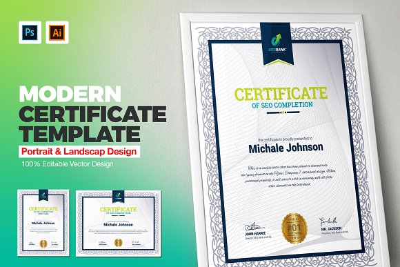 Certificate Of Completion Stationery Templates Creative Market