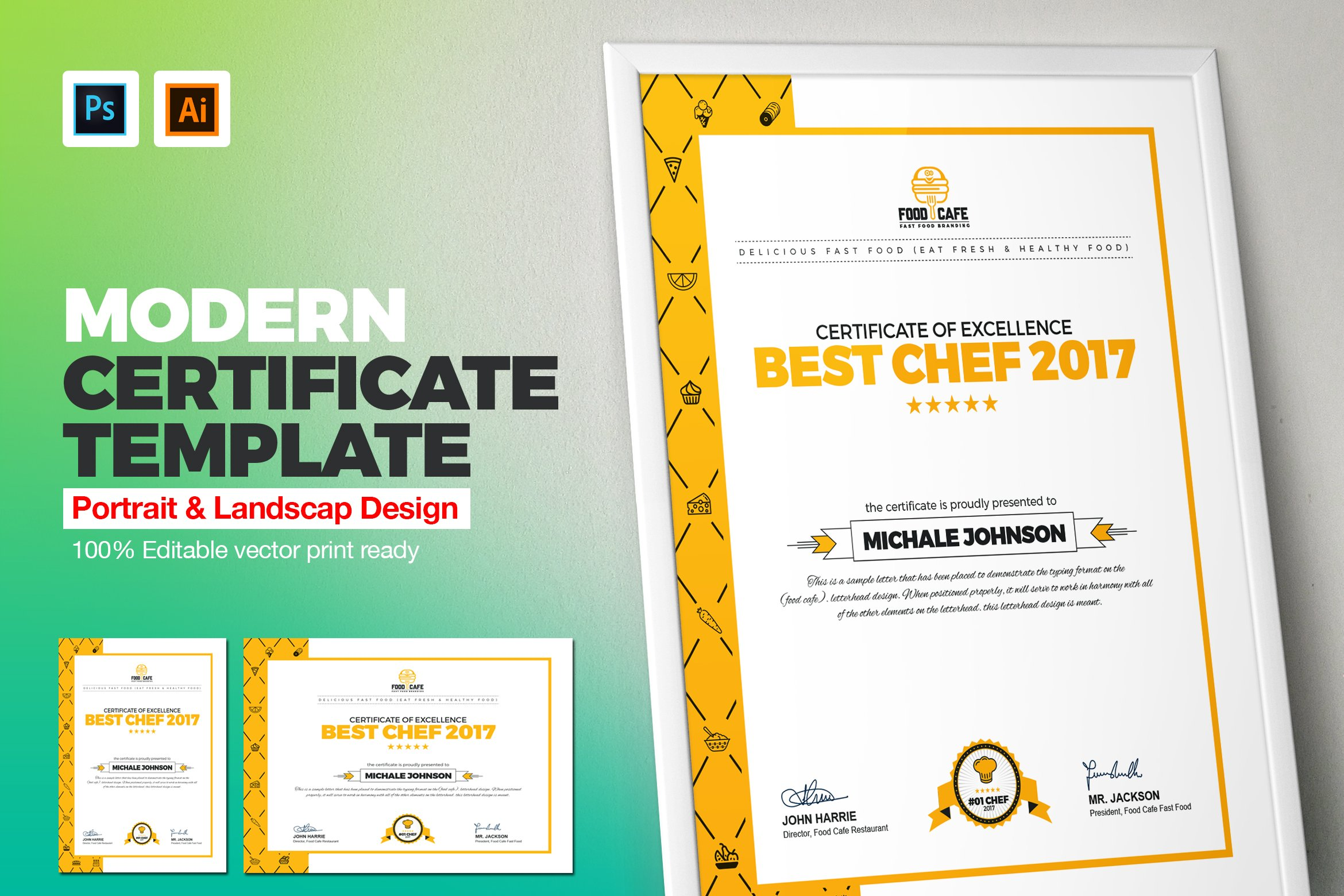 Modern Certificate Template Stationery Templates Creative Market
