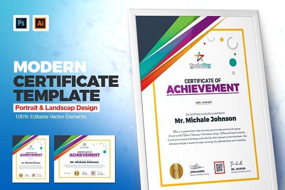 Creative Certificate Template Stationery Templates Creative Market