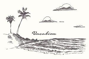 Set of sketches of seaside views
