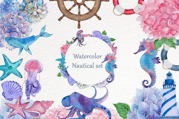 Watercolor Nautical Set