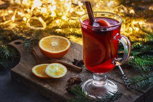 Mulled wine with spices and Christma