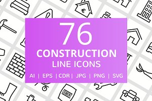 76 Construction Line Icons