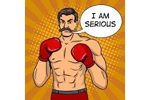 Vintage boxer fighter with mustache pop art vector