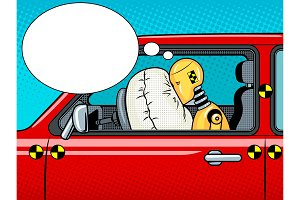 Crash test dummy pop art vector illustration