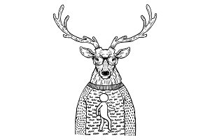 Deer in sweater engraving vector illustration