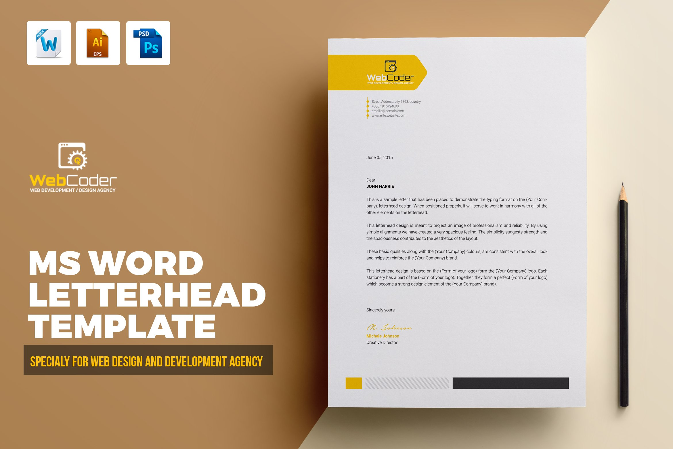 Letterhead Template  Creative Illustrator Templates ~ Creative Market Pertaining To How To Create A Letterhead Template In Word
