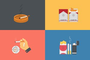 Illustrations Set of Cigarettes