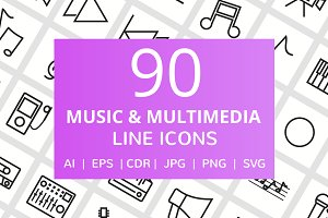 90 Music & Multimedia Line Icons