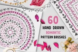60 Hand Drawn Romantic Pattern Brush