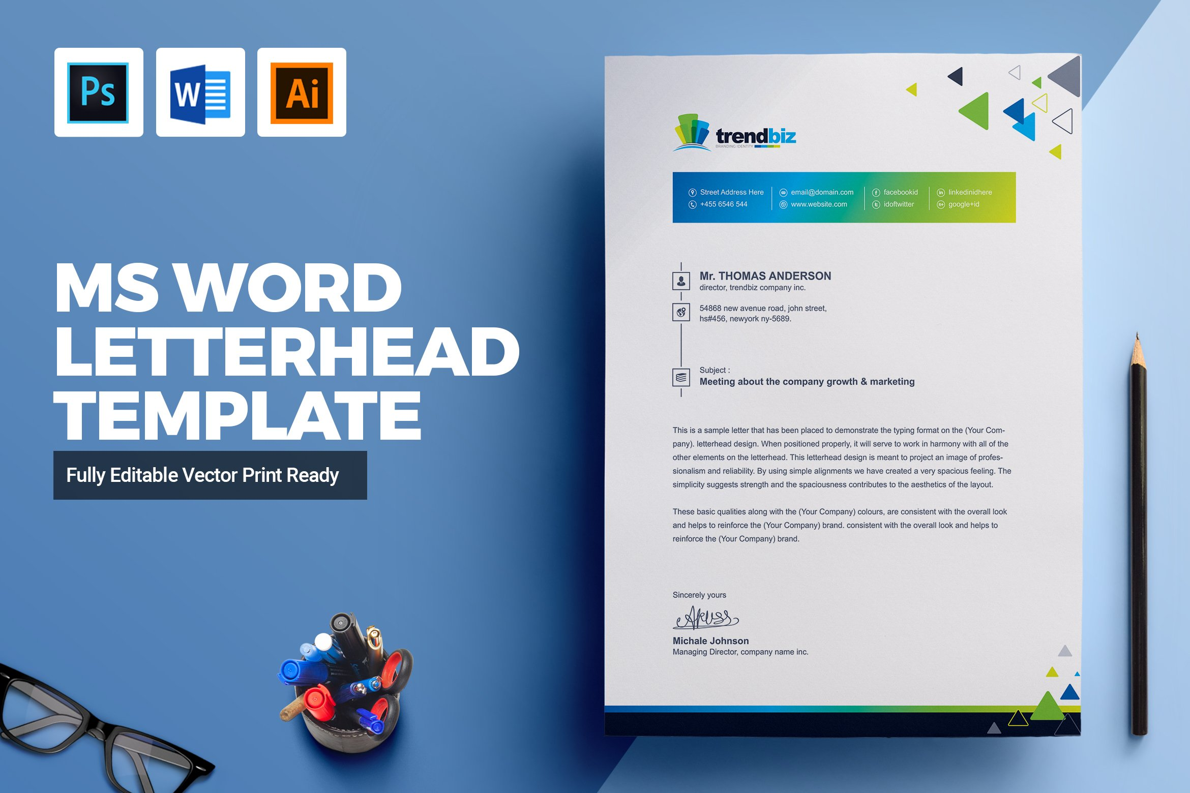 corporate ms word letterhead stationery templates creative market