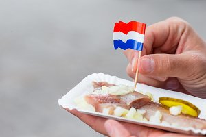 Tasty fresh herring with onion and netherland flag on the water channel background in Amsterdam. Traditional dutch food