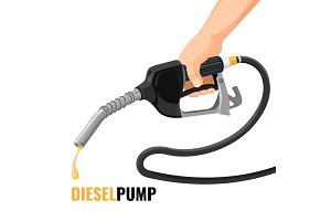 Diesel pump promotional poster with fuel nozzle in human hand