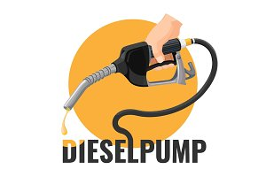 Diesel pump promotional logotype with fuel nozzle and yellow circle