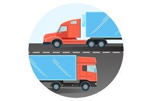 Diesel trucks drive on two-line highway inside circle