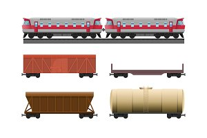 Modern train with various trailers for natural recources transportation